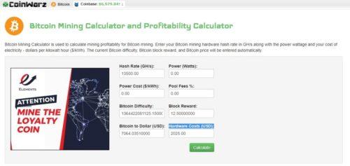 Калькулятор майнинга биткоина coinwarz