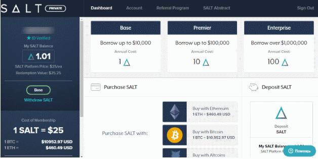Интерфейс сервиса SALT