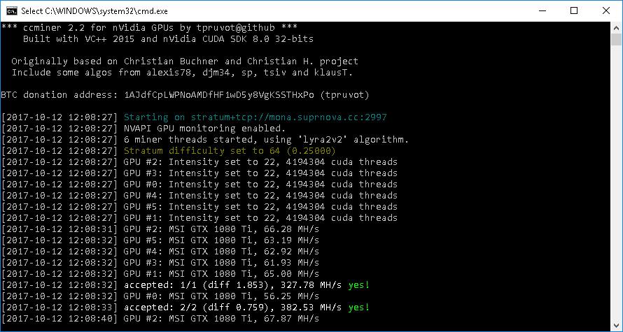Майнинг по алгоритму Lyra2REv2