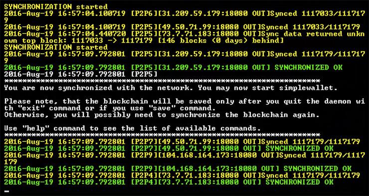 Синхронизация bitmonerod