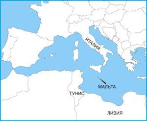 Мальта на карте Европы