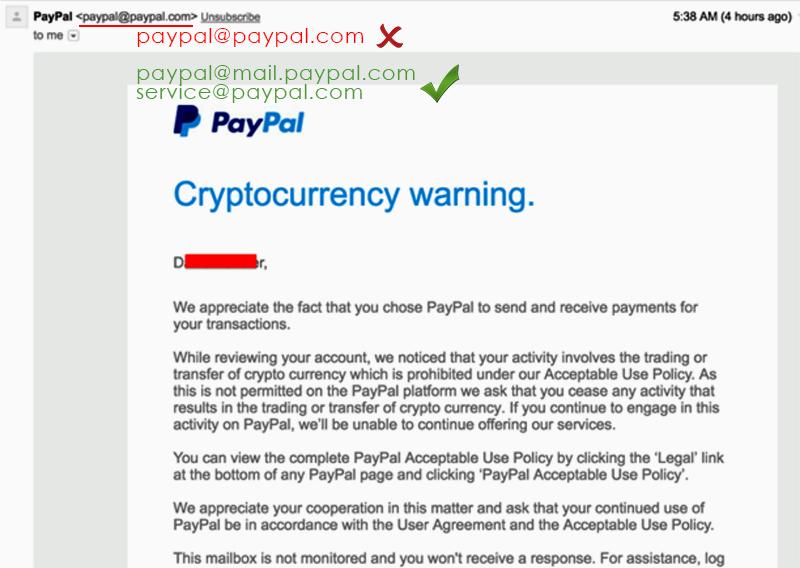 Мошенническое письмо от имени PayPal