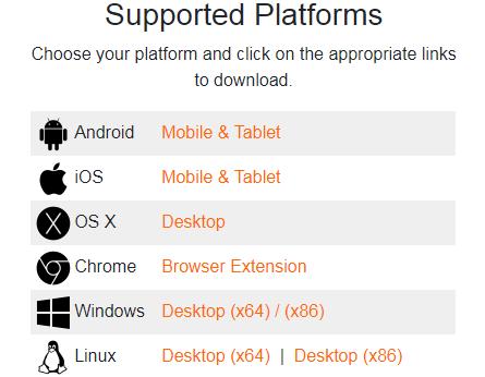Поддерживаемые платформы