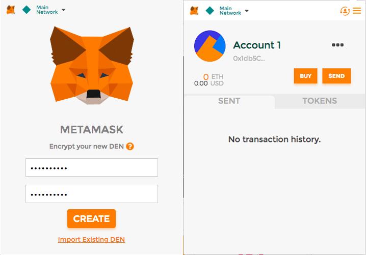 Интерфейс Metamask