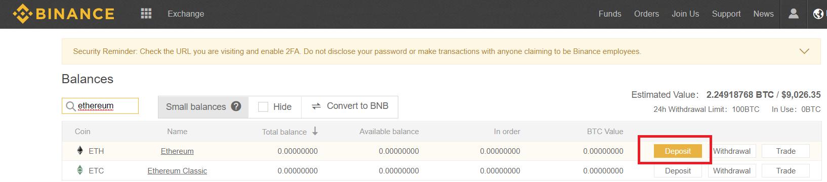 Balances - Deposit