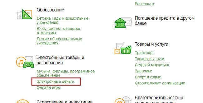 Электронные деньги в Сбербанк Онлайн