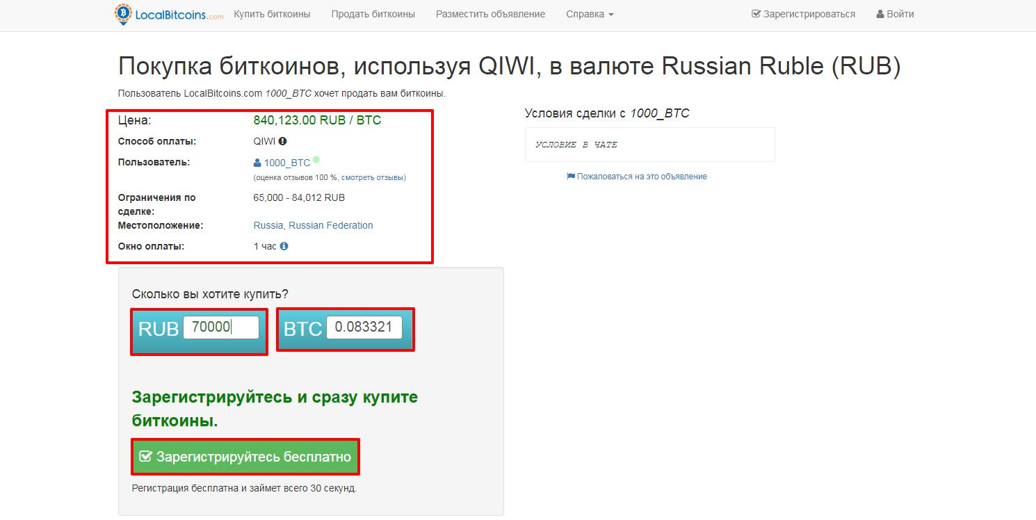Окно покупки на LocalBitcoins
