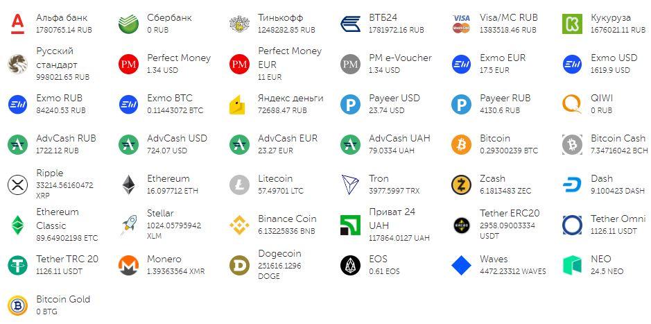 Поддерживаемые валюты